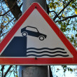 "Stock Photo: Road sign, ""Beware embankment"""