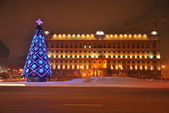 Christmas Tree on Lubyanka — Stock Photo