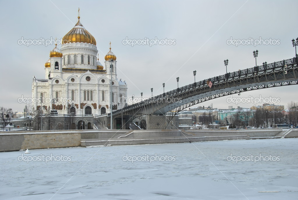 Christ the Saviour Cathedral in the winter and covered with ice Moscow River  Stock Photo #4809027