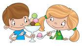 女孩和男孩与冰淇淋 — 图库矢量图片