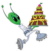 Alien with cake — Vettoriale Stock