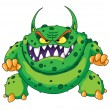 Stock Vector: Angry green monster