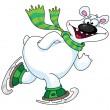 Polar bear on ice skates — Stock Vector