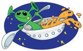 Alien in space — Stock Vector
