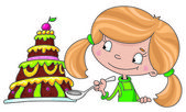 Girl and cake — Stock Vector