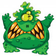 Terrible green monster — Stock Vector
