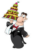 Waiter with cake — Stock Vector