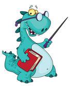 Teacher dinosaur — Stock Vector