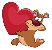 Bear and heart — Stock Vector