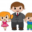 Stock Vector: Father and children