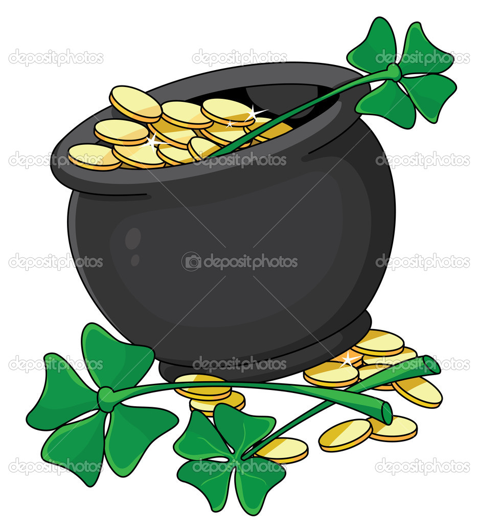Illustration of a pot and clover  Stock Vector #4712697