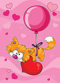 Valentines kitten — Stock Vector