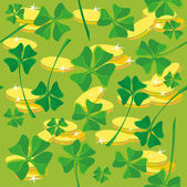 Pattern clover money — Stock Vector