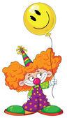 Kid clown with balloon — Stock Vector