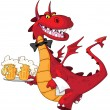 Dragon waiter with beer — Stock Vector