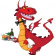 Dragon waiter with food tray — Stock Vector #5353686