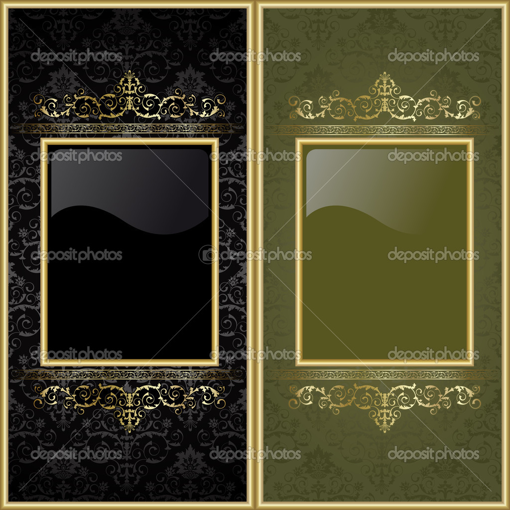 Set from  gold frames on the black and green background — Stock Vector #4054288