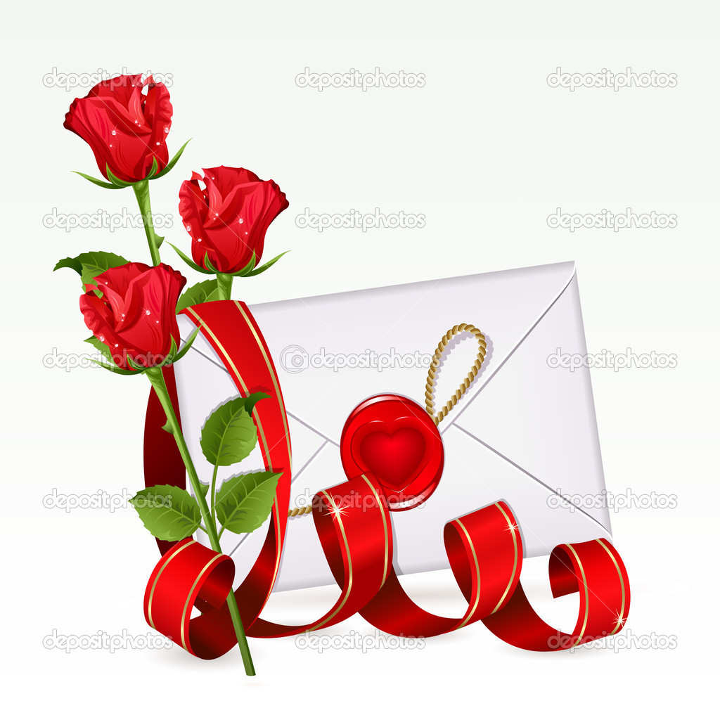 Valentine background with letter and red roses — Stock Vector #4990417