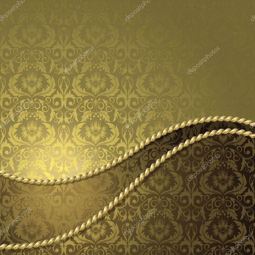 Brown background with gold  flowers and leaves — Stock Vector #5185178