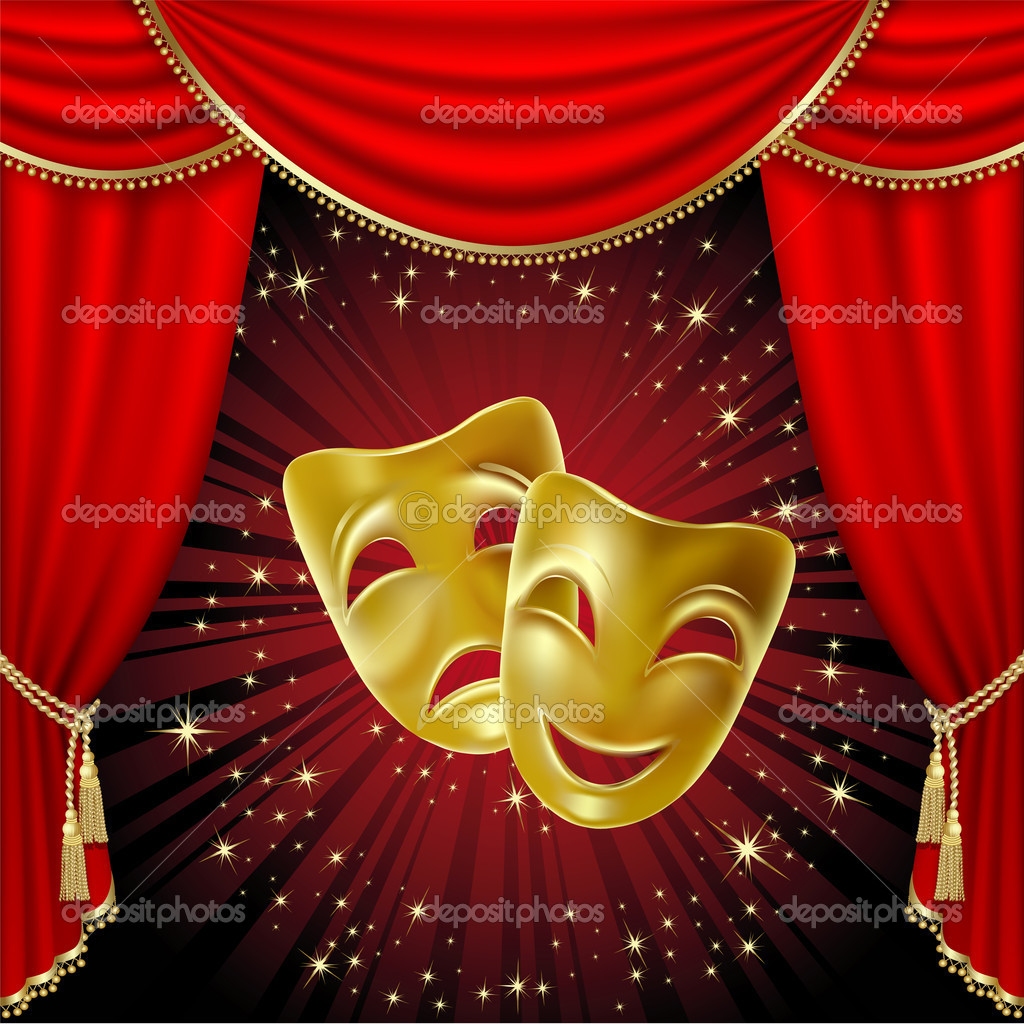 Theatre curtains drawings - Colorful Theatre Masks Viewing Gallery