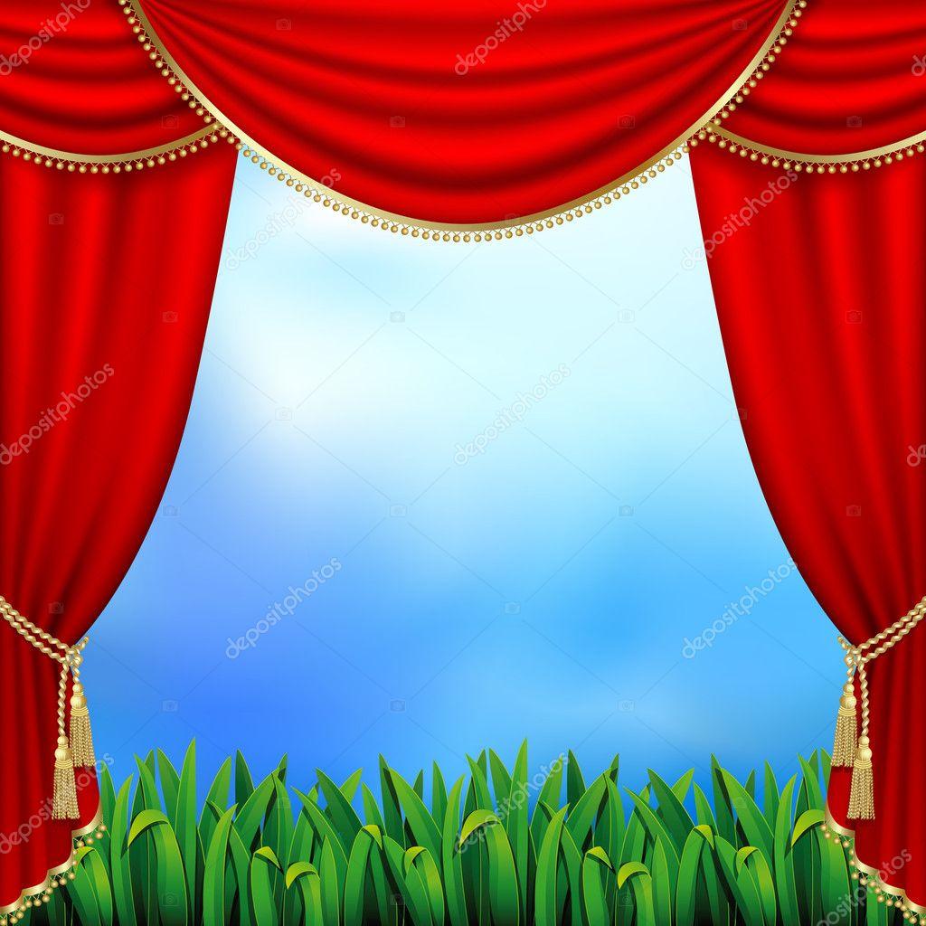 Theater gordijnen — Stockvector © len_pri #5330928