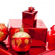 Red christmas gifts and toys — Stockfoto