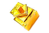 Golden gifts boxes — Stock Photo