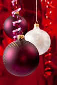 White and red baubles — Stock Photo