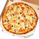 Pizza in white box — Stock Photo