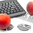 Peaches with office details — Stock Photo