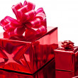 Red christmas gifts boxes — Stok fotoğraf