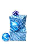 Christmas balls and presents — Stock Photo