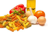 Ingredients and spaghetti — Stock Photo
