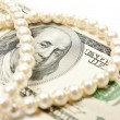 Stock Photo: Pearls and dollars
