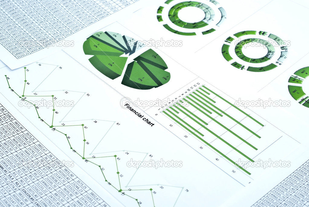 Business still-life with green diagram, chart and numbers — Stock Photo #4971316