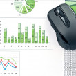 PC mouse on charts — Stock Photo