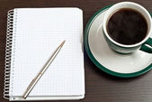 Notebook, pen & coffee — 图库照片