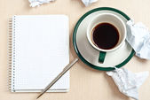 Pencil, coffee, paper — Stock Photo