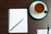 Notebook, pen & coffee — Foto de Stock