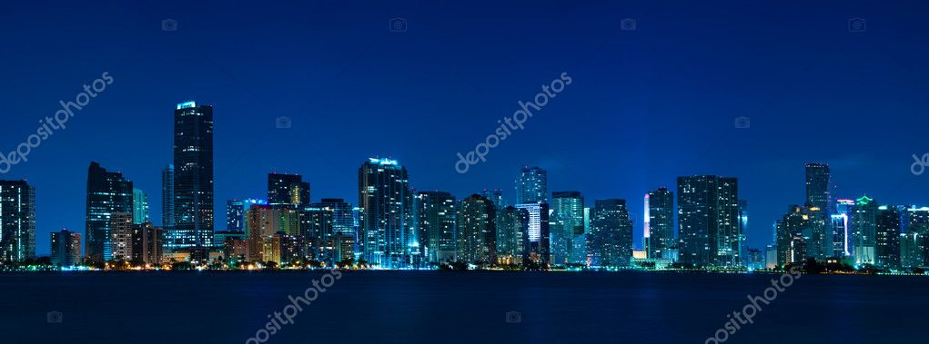 Miami skyline at night - panoramic image — Stock Photo #4435027