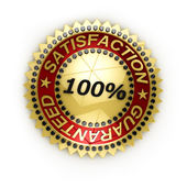 Isolated Satisfaction Guaranteed seal over white — Stock Photo