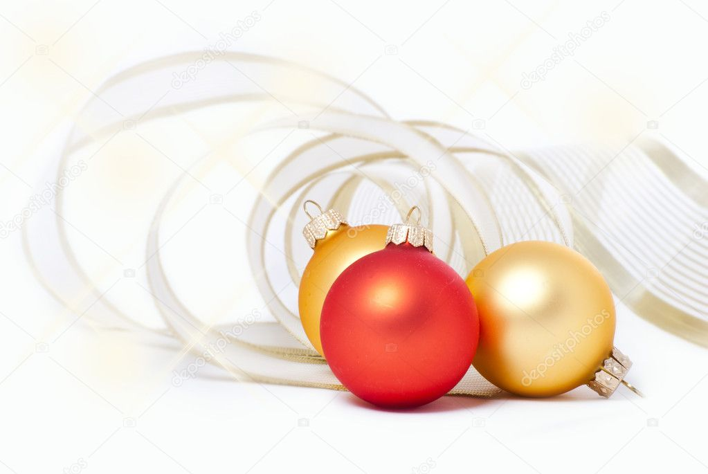 Lie on a white background Christmas holiday toys wrapped packing tape — Stock Photo #4337516