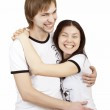 Beautiful couple laughs and hugs — Stock Photo #4748283