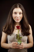 Pretty girl with rose — Stock Photo