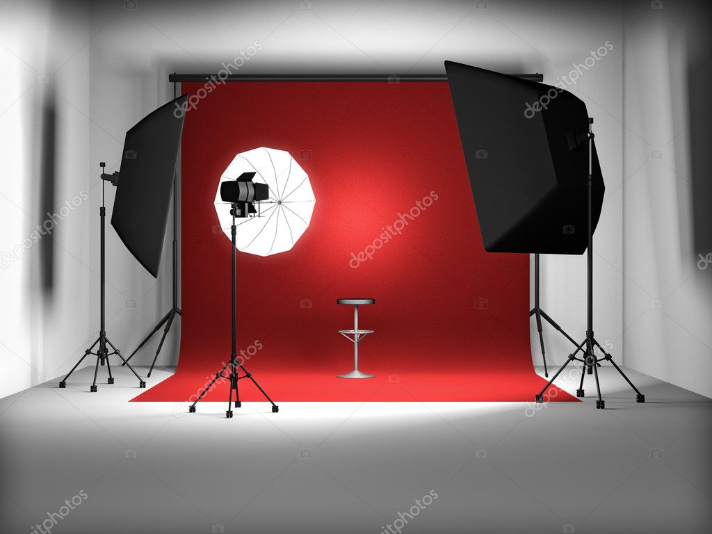 3d illustration of empty photo studio — Stock Photo #4868377