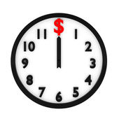 3d render of dollar clock on white — Stock Photo