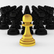 3d render of many pawns — Stock Photo #5310056
