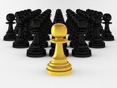 3d render of many pawns — Stock Photo