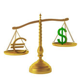 3d render of euro and dollar on scales — Stock Photo
