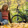 Beauty girl with bike. — Stock Photo